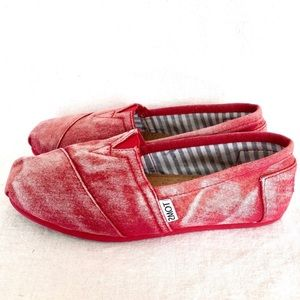 TOMS Red Tye Dye Bleached •Alpargatas• Slip On (7)